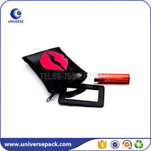 Red lip print zippered nylon mesh lipstick pouch with mirror