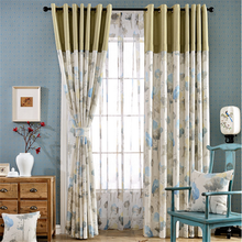 floral printed splicing drapery curtains for the living room and bedroom