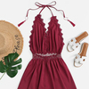 Guipure Lace Trim Fringe Halter Summer Dress Camisole Beach Dresses Women Clothes