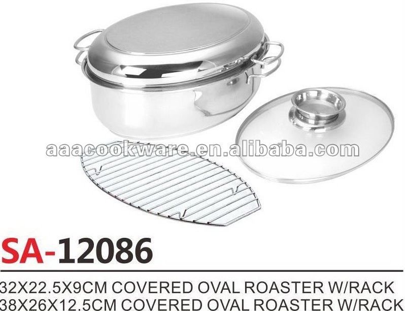 German Style Stainless Steel Covered Oval Roaster/oval roaster pan