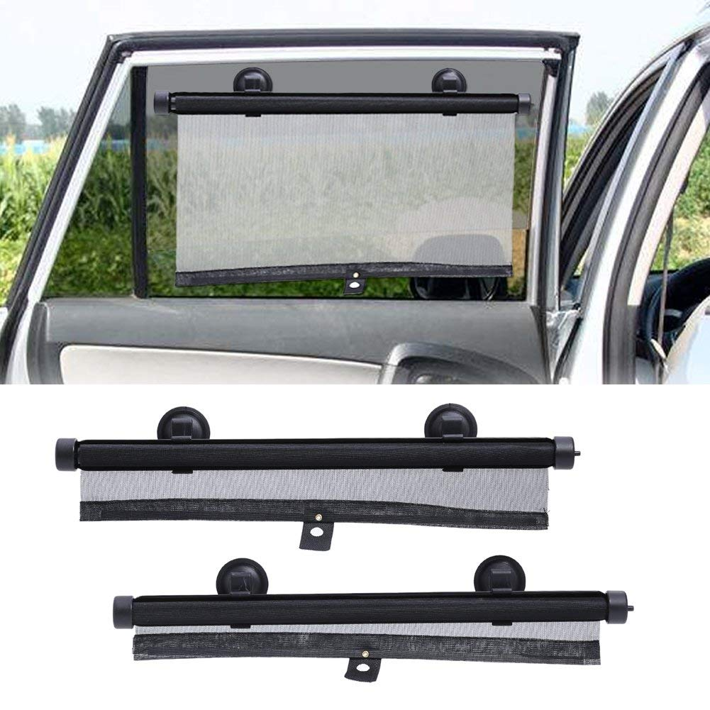 Universal Car Side Window Sun Shade Protector Auto Shade Roller Retractable Sunshade for Rear Windows with Suction Cups Windshield Blocks Harmful UV Rays keep Baby Kids pets from Sun Glare and Heat (2