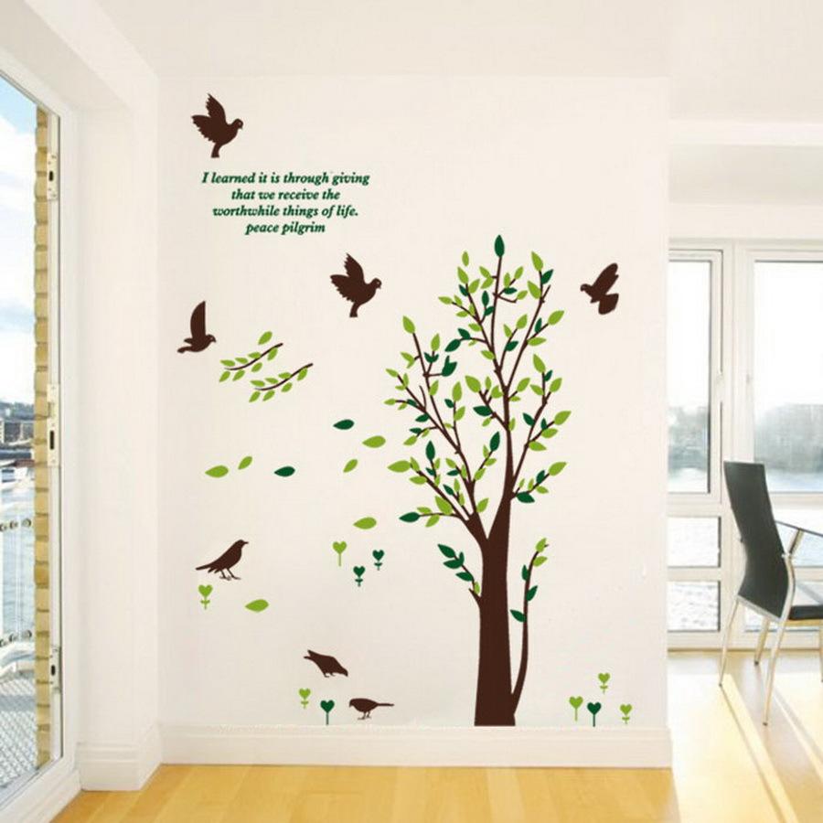 diy removable green tree flying birds wall stickers livingroom bedroom wall decor house. Black Bedroom Furniture Sets. Home Design Ideas
