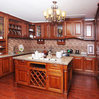 Teak wood kitchen cabinet design