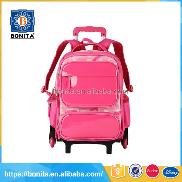 pink ladies girls lovely hand carry trolley bag custom brand logo