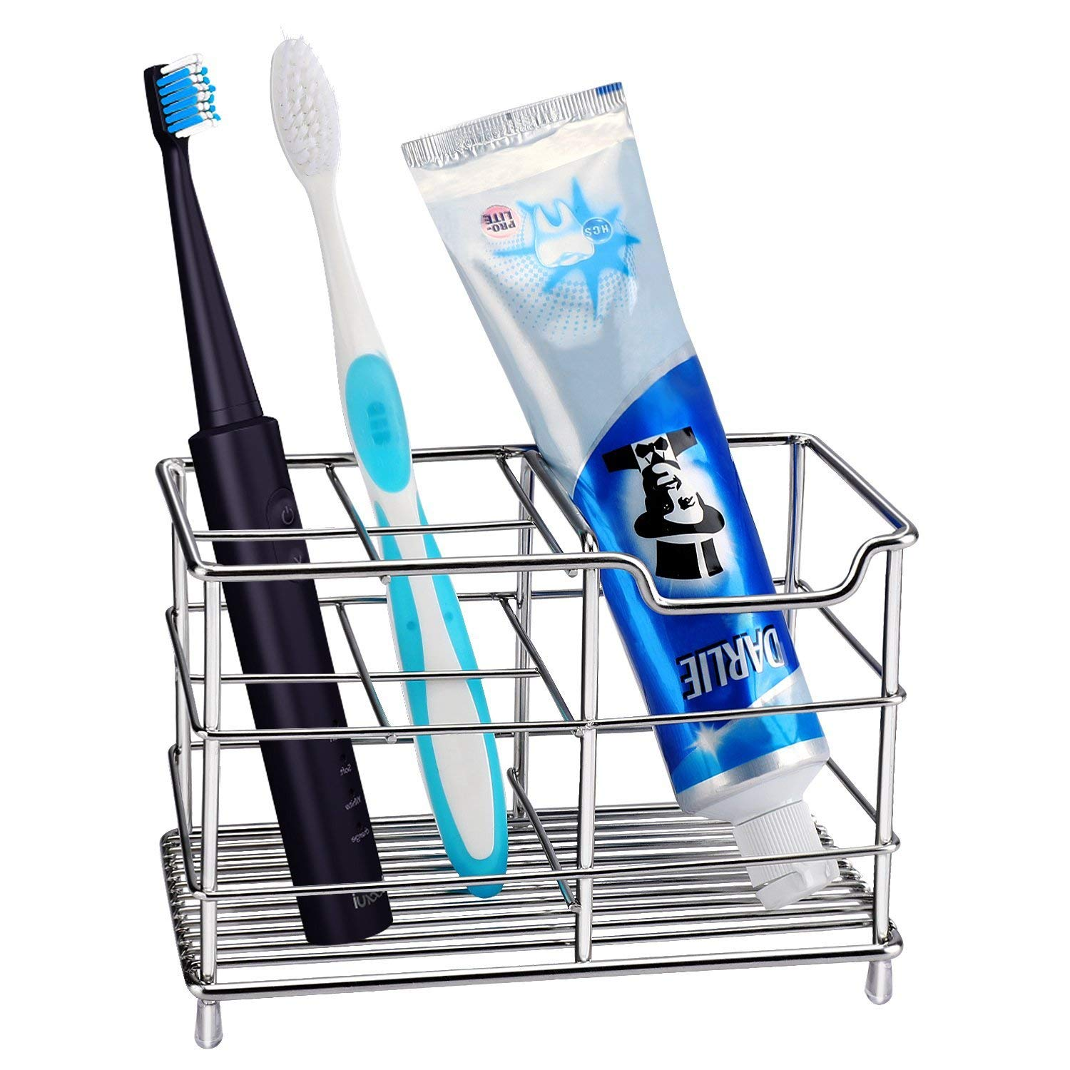 HOMEIDEAS 304 Stainless Steel Bathroom X-Large Electric Toothbrush Holder Toothpaste Holder Stand