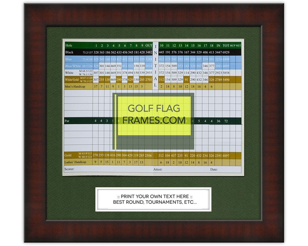 11x10 Golf Scorecard Frame; Mahogany Color Frame, Green Mat (holds approx. 6x8 card); card not included
