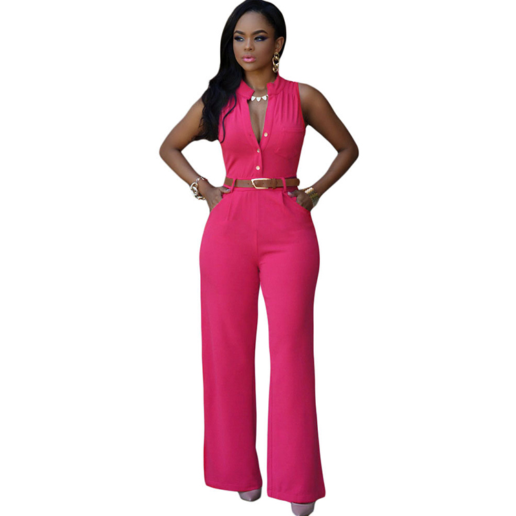 Newest Sleeveless Belt Fashion Women Ladies Jumpsuit