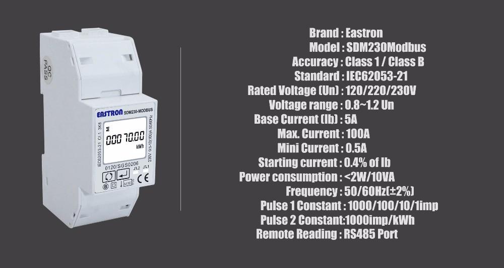 EASTRON SDM230 MODBUS 100A 2 DIN CONTATORE RS485 MONOFASE CERTIFICATO MID
