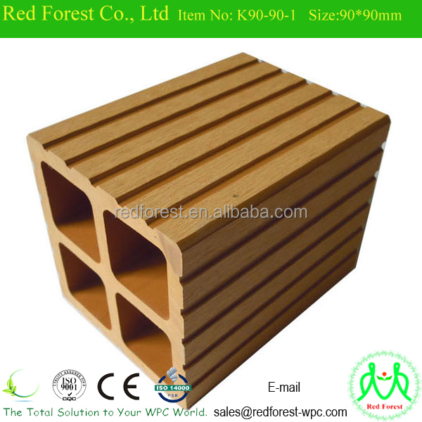 wood plastic composite post/post base for handrail