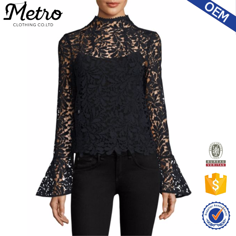 Wholsale Custom Women Elegant Black Long Bell Sleeve High Neck Cropped Lace Tank Top