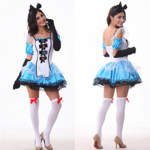 Onen Halloween Cosplay Fancy Dress Maid Outfit Alice No País Das Maravilhas Traje Mulher