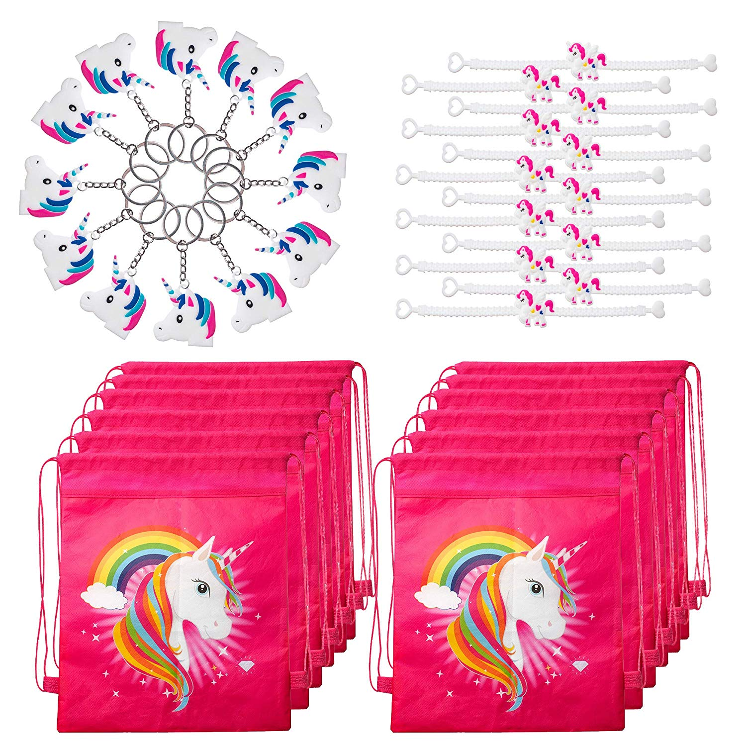 Unicorn Party Favors Pack with Unicorn Goodie Bags, Unicorn Bracelets, and Unicorn Keychains for 12 Kids