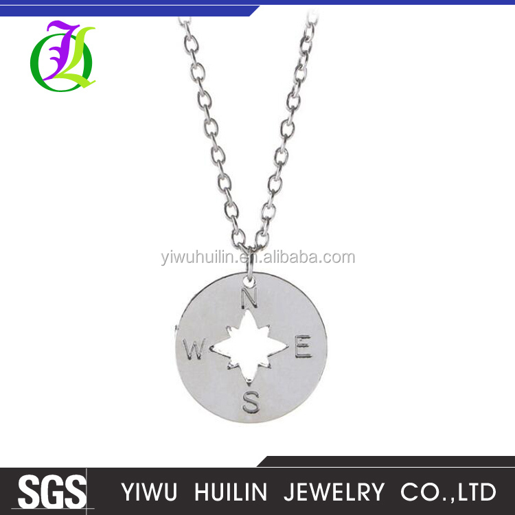JTN 013 Yiwu Huilin Jewelry Simple style Wholesale Custom Logo Gold Plated Round Compass Pendant fashion statement necklace