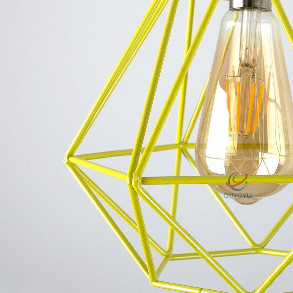Vintage Retro Käfig Draht Pendelleuchte Schatten Gelb Diamant Design ...