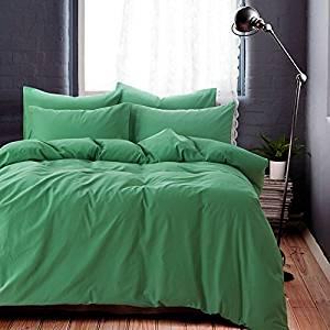 Minimalism Green Bedding Teen Bedding Kids Bedding Scandinavian Design Bedding Duvet Cover Set, Queen Size
