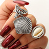 Vintage Antique Silver 3pcs/ Set Jewelry Ring Ladies Metal Alloy Beach Accessories Shell Ring for Women