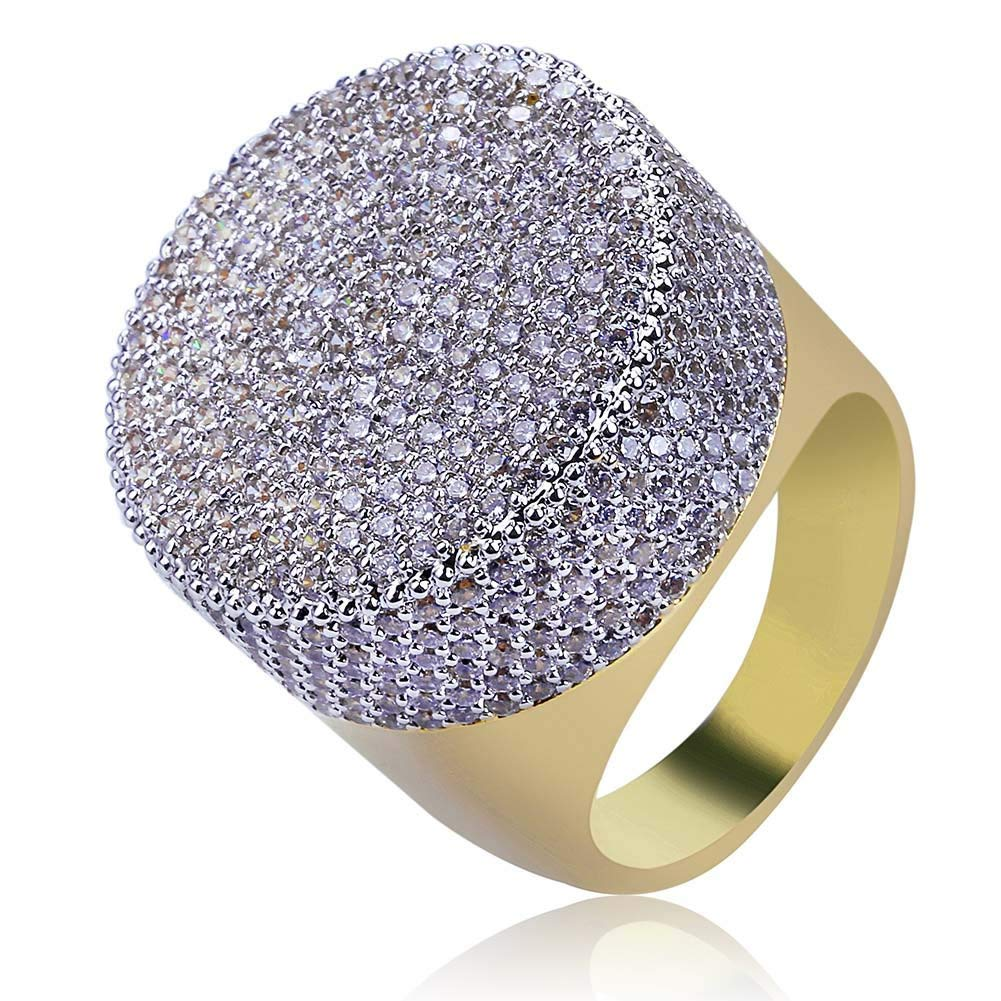 e1cbfe26a37eff Get Quotations · TOPGRILLZ 23mm 14K Gold Plated Round Fully Iced Out CZ Lab  Simulated Diamond Bling Band Style