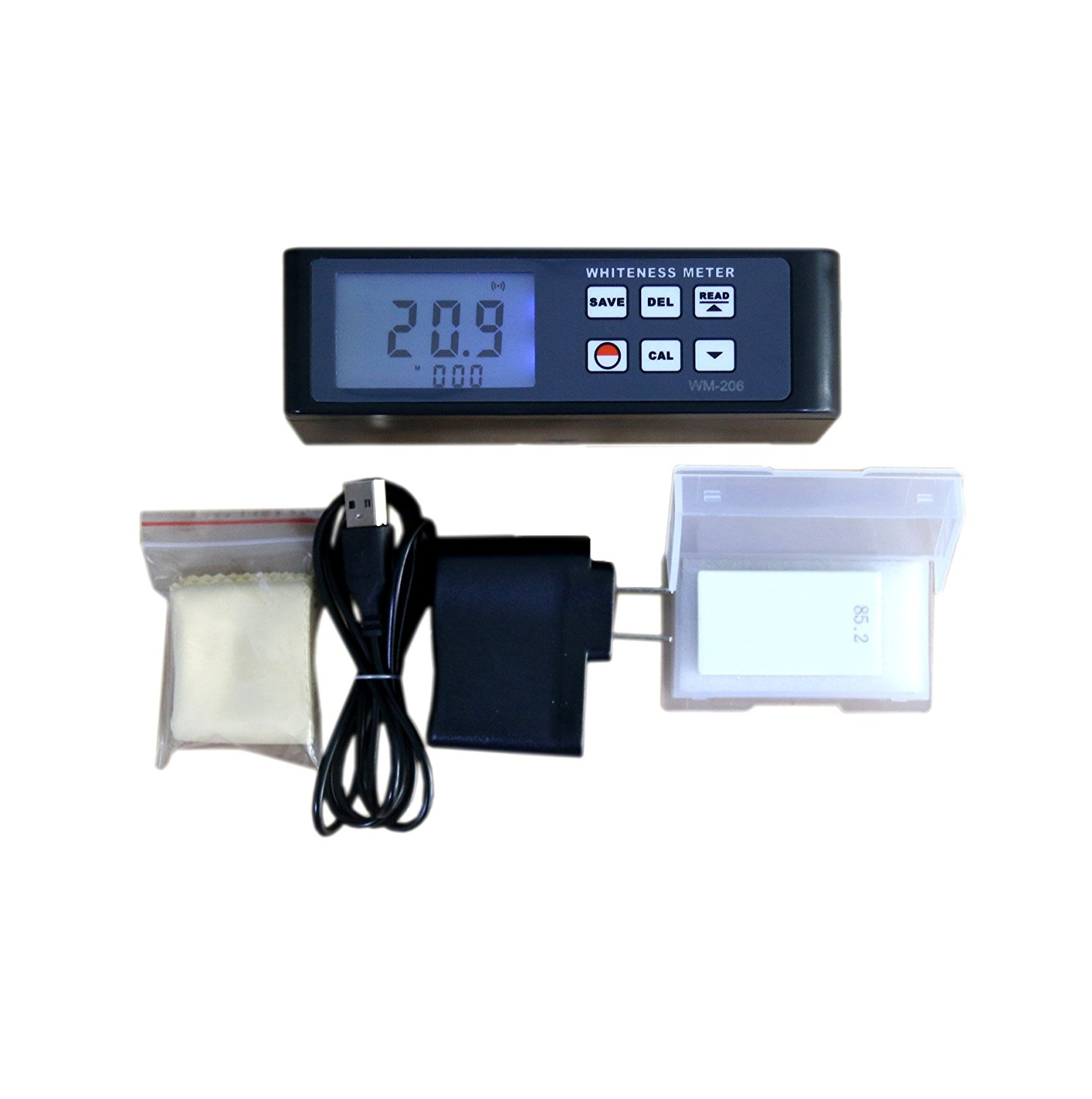 BYQTEC WM-206 Whiteness Meter with Data Memory for Powder Paint Paper Salt
