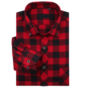 OEM black check shirt mens red flannel shirt