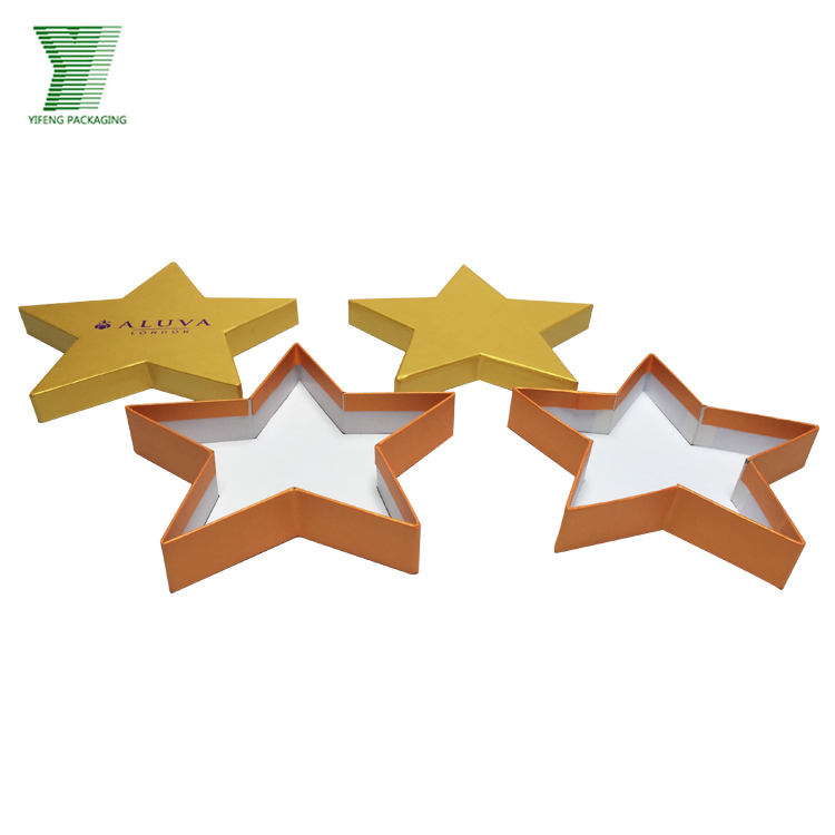 Fashion Decorative High Quality Logo Stamping Golden Paper Star Shape Chocolate Biscuits Gift Box
