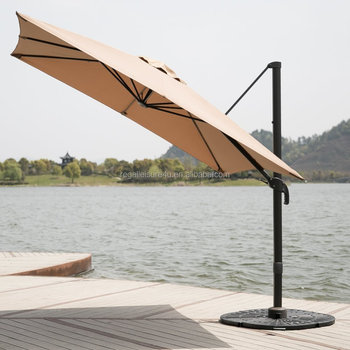 Deluxe Square Offset Cantilever Outdoor Patio Umbrella 360 Rotation Infinite Tilting Olefin Canopy