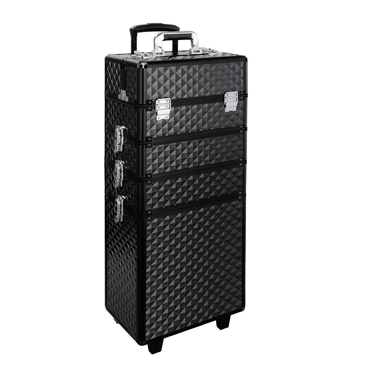 Makeup Trolley Case, WarmieHomy 4 in 1 Aluminum Rolling Makeup Train Case Professional Beautician Artist Travel Makeup Case w/2 Wheels (Diamond Black)