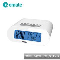 LED backlit alarm clock radio with calendar, temperature and alarm