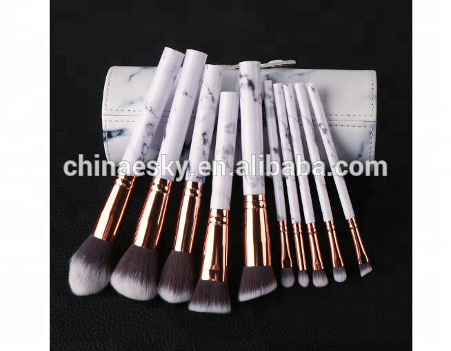 Custom logo make-up kwasten private label cosmetica marmer 10 stks make-up borstel set