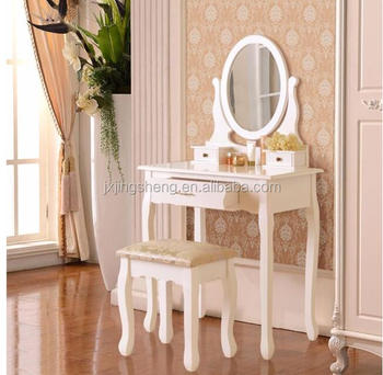Mdf Clearance Glossy White Paint Wood Bedroom Vanity Makeup Table Mirrored Dressing With Stool