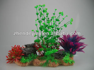 Aquarium tank garden aquascaping artificial plastic plants group with polyresin ornament archor