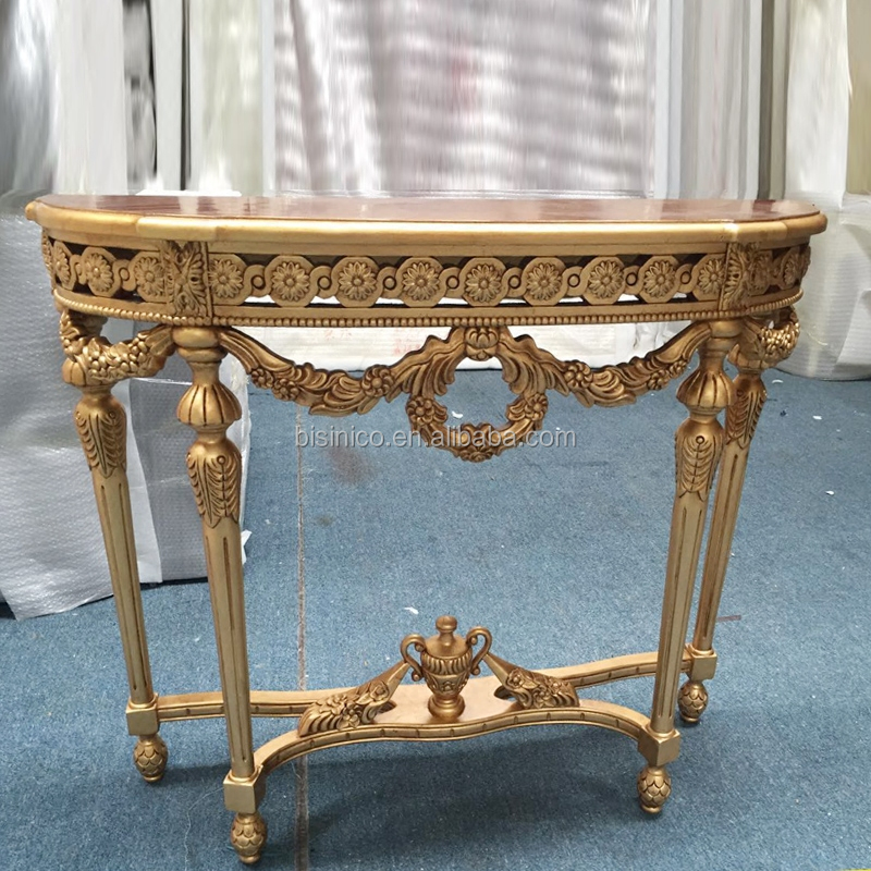 Exquisite Retro Barque Inlaid Marquetry Solid Wood Hand Carved GoldLeaf Console Table For Villa Living Room BF08-YS019