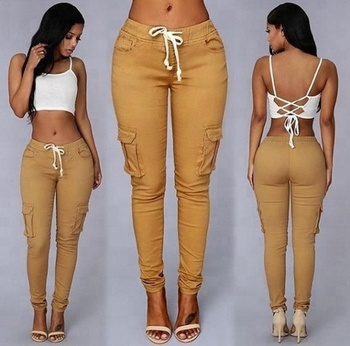 Durable Casual Women Rope-Belted Backpackers Cargo Pants