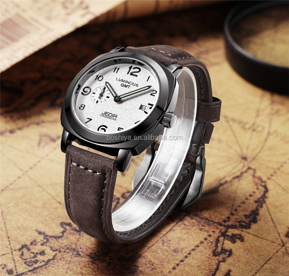 Classic looking Alloy frosted watch face and Luxury leather Unisex wristwatch wholesale