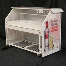 Mobile folding portable bar with wheels for club
