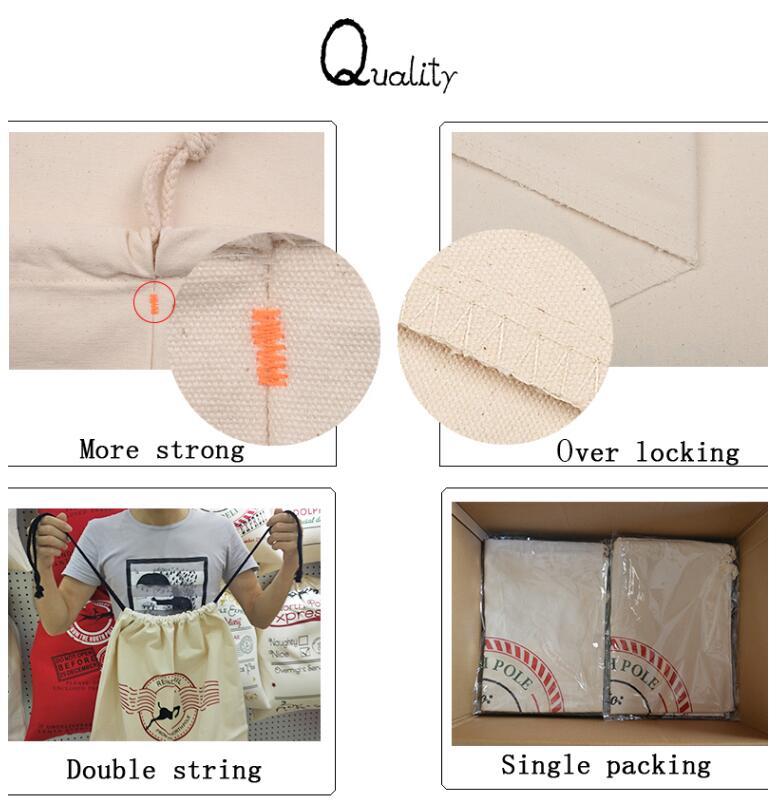 Custom wholesale cotton canvas large santa sack big Christmas gift bag