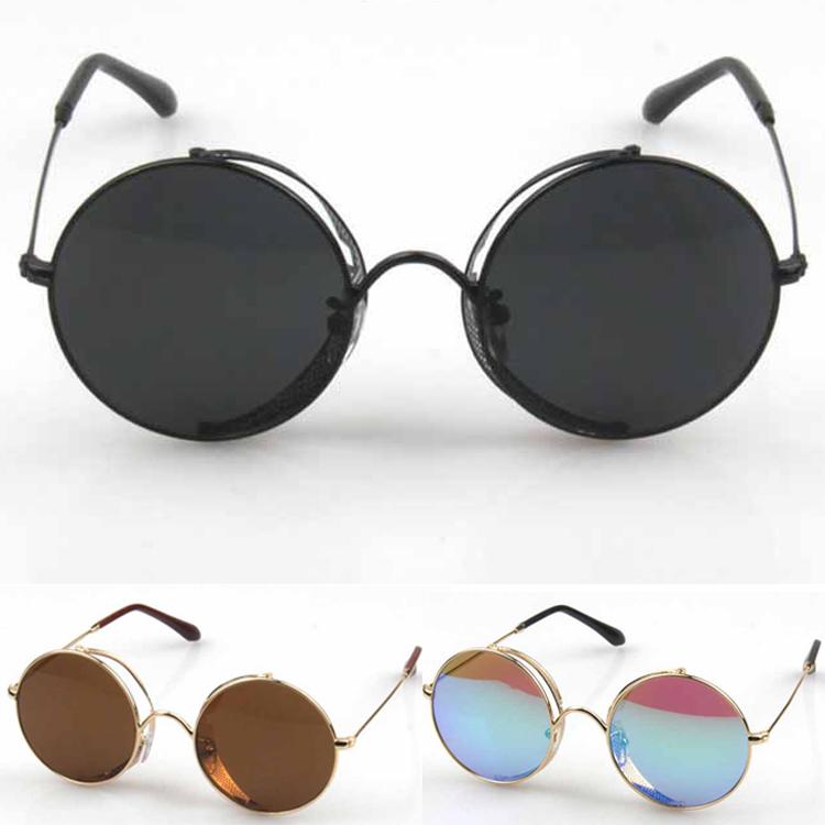 930165eac73 Get Quotations · Round Rim Women s Reflective Sunglasses Full Mirror  Colored Lens Metal Eyeglasses Punk Sun Glasses For Men