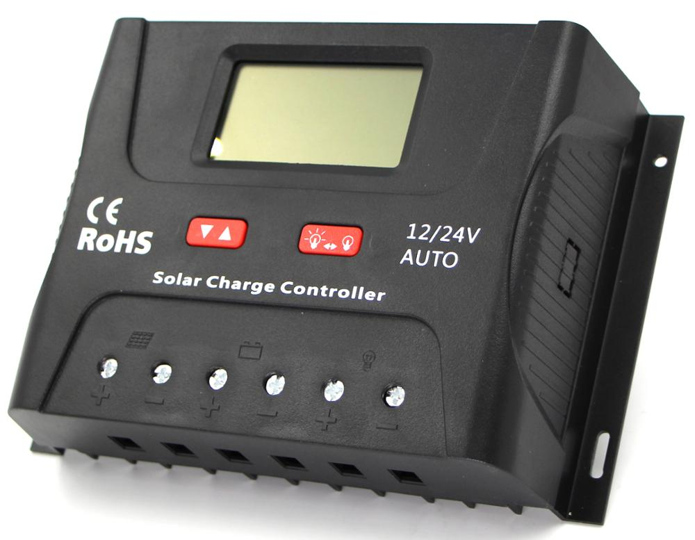 Hot! LCD display solar battery charge regulator 50A solar controller 12V 24V 50A solar voltage regulator