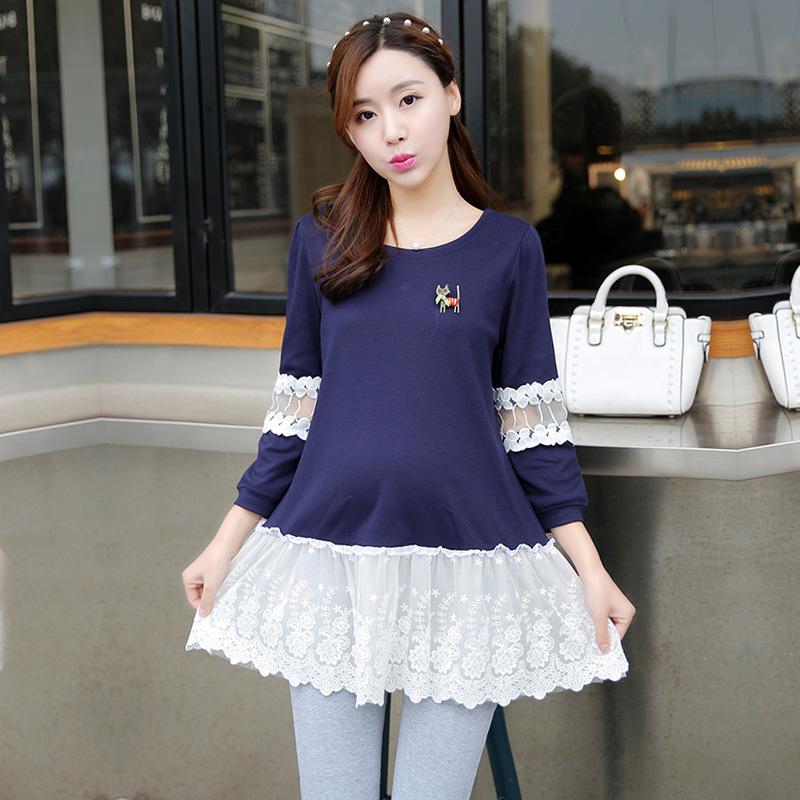 Беременным кружевном платье шить девять рукав пальто воротник темперамент корейский весной беременных женщин футболка M-212