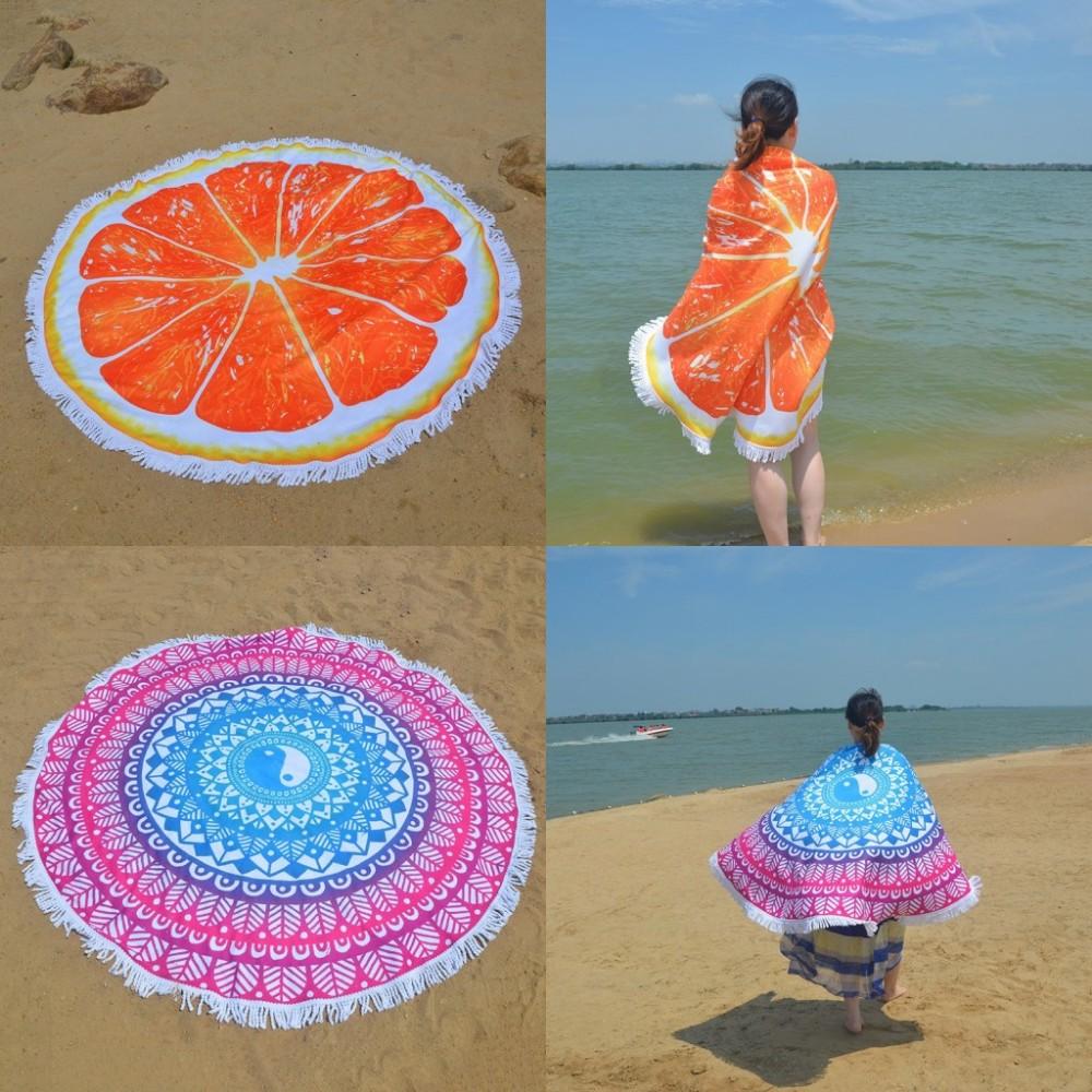 Microfiber Printed Round Beach Towel 2016