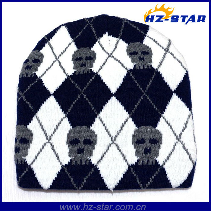 HZM-13516 Wholesale Custom winter free pattern beanie knitted skull hat