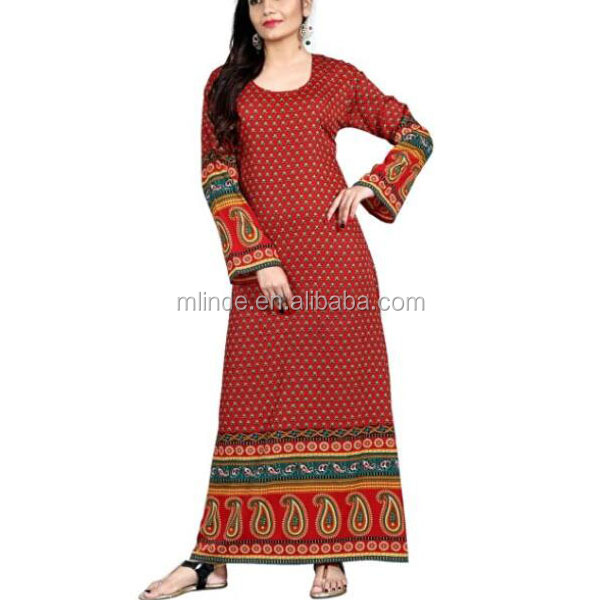 Custom Wholesale lady dress Women's Trendy Printed Round Neck dashiki Kaftans Multiple Colors long sleeve maxi muslim dress