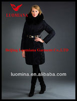 Long Fashion Women down jacket with golden Belt and raccoon fur collar windproof Luomiana dress design winter
