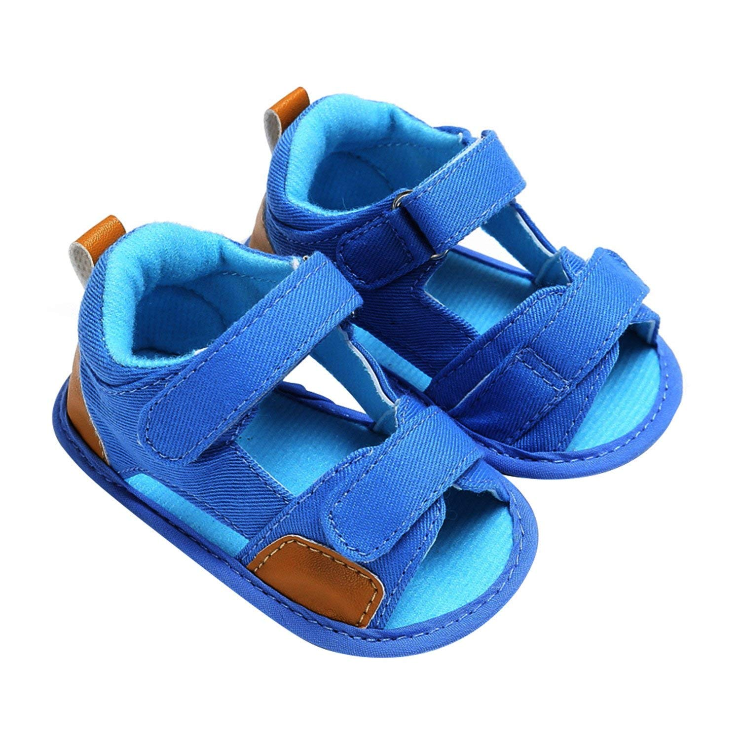 0 to 18 Months Baby Boys Sandals Summer Toddler Baby Boys Cute Canvas Shoes Soft Sole Prewalker Light Blue/Dark Blue