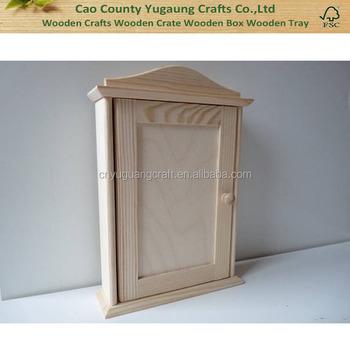 Plain Wooden Key Cabinet , DIY Wooden Box, Unfinished Wood Plain Key Holder