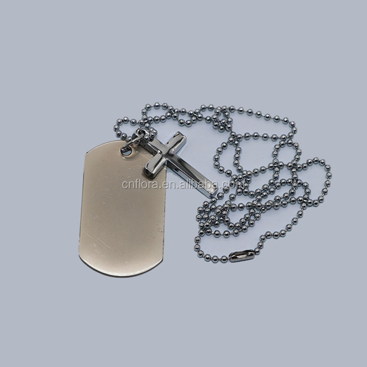 Fashionable western Christian cross military tag,Custom Cross Pet dog tag Name Tag With Neck Chain