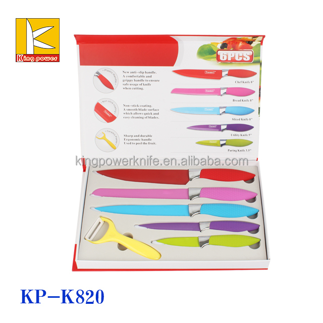 superior Knife Set As Seen On Tv Part - 8: 7pcs non stick kitchen knife set with white color Painting