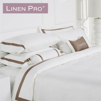 Linen Pro Logo Design Hotel 4Pc 100% Cotton Pure Linen Fitted Bedding Set Bed  Sheets
