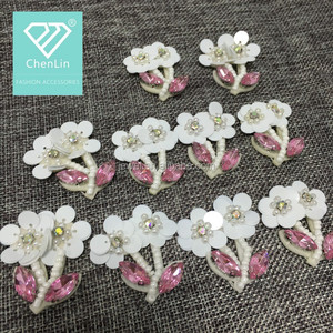 high quality double handmade flowers white beaded sequins flower for lady clothes/garment