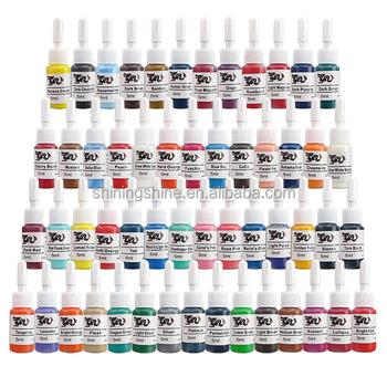 54 Colors Tattoo Pigment Ink 5ml Skin Candy Tattoo Ink Set Tattoo ...
