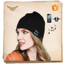 Wholesale custom made plain acrylic adult unisex knit beanie bluetooth winter hat